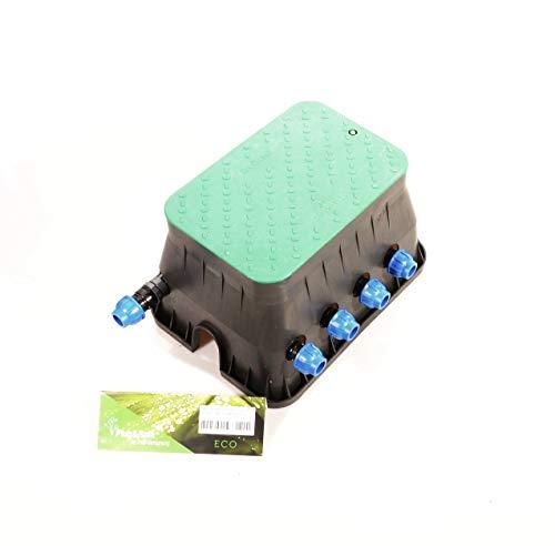 """Ventilbox ECO - 4 x Hunter PGV-100-MM Magnetventil (4 Zonen), mit 25 mm Anschlüssen für 3/4\"""" (25mm) PE-Rohr Bewässerung. 24 Volt AC Unterflur PE-Verteilung. PGV 100 MM"""