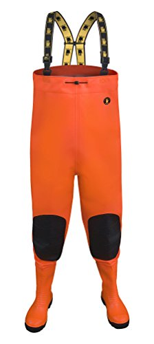 Vor-Max S5Fluo PVC-Wathose Stahl Zwischensohle fluoreszierende Hi Vis Orange Gelb - Fluorescent Orange - 43 EU - 9,5 UK ( 28,5 cm)