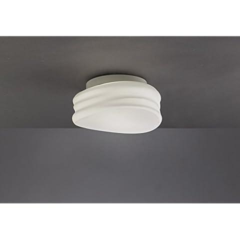 Plafón de techo cristal opal y base cromada, colección Mediterraneo 22cm de Mantra, color Blanco