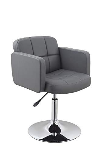 Duhome Elegant Lifestyle Clubsessel Sessel Kunstleder Grau Esszimmerstuhl Lounge Sessel höhenverstellbar Drehbar Farbauswahl - Typ 524A
