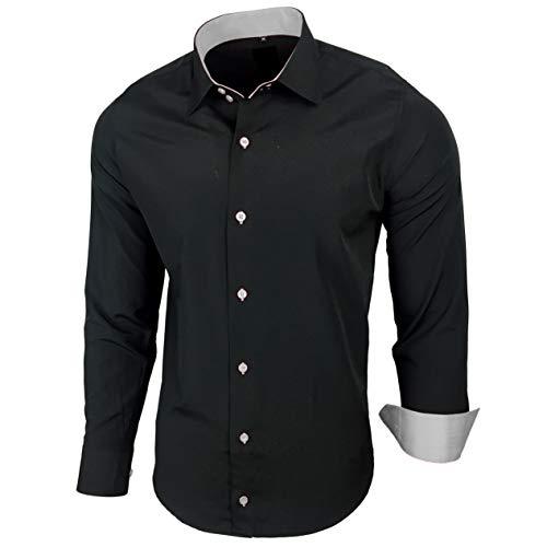 Baxboy Hombre de Camisa fácil de Planchar de Slim Fit para Traje, Business, Bodas, Tiempo Libre-Manga Larga Camisas para Hombres Camisa de Manga Larga R de 44 Negro/Gris XXL