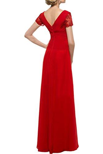 Sunvary Elegant Neu V-Neck Kurzarm Chiffon Falte Abendkleider Bodenlang Ballkleid Partykleider Rot
