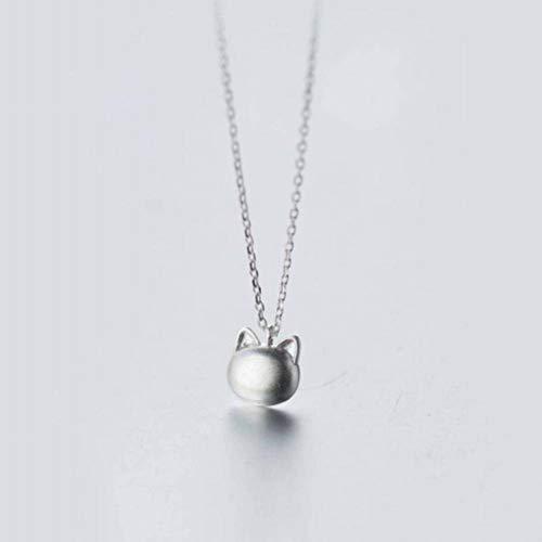 CWHao - necklace 925 Silber Halskette Weibliche Einfache Nette Peeling Katze Halskette Kurze Schlüsselbein Kette, S925 Silver Set Chain -