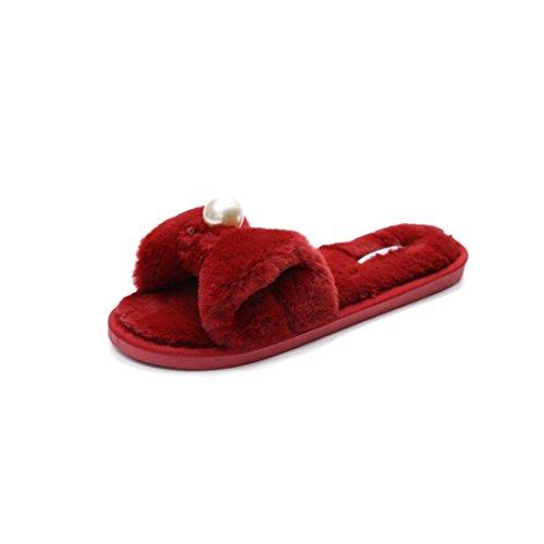 Damen Schleife Hausschuhe, FNKDOR Flaumig Kunstpelz Slipper Zehentrenner Pantoletten Schuhe Flip Flop (38, Rot) (Baseball-flip-flops)