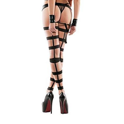 Xingjo Frauen Erotik Dessous Bodysuit Set DamenNegligee Leder Mini Strumpfhosen Leder Tanzkleid Striptease Uniform,Black - Mini Strumpfhose
