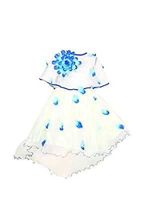 YAYAVAR Girls Net Made Off White & Sky Blue Colored Casual Frock for Girls - Set of 01 from 02-08 Years (Sky Blue_2-3 Years)