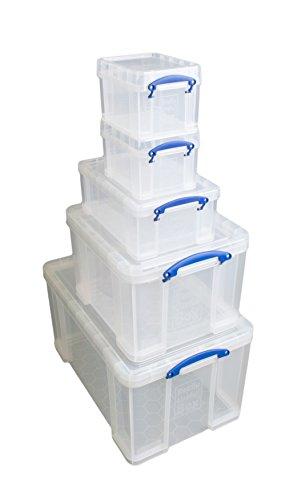 Really Useful Aufbewahrungsboxen 5er-Pack 84 Litre + 35 Litre + 9 Litre + 2 x 3 Litre farblos