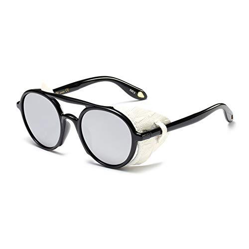 SYQA Herren Sonnenbrille mit Seitenschutz Sommer PU runde Sonnenbrille für Damen Retro UV400,C4
