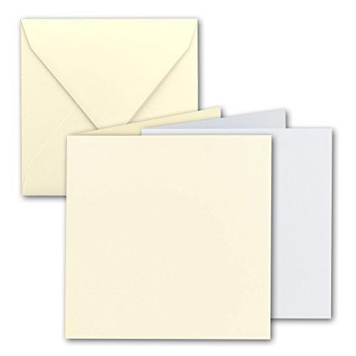 Quadratisches Falt-Karten-Set I 15 x 15 cm - mit Brief-Umschlägen & Einlege-Blätter I Vanille I 25 Stück I KomplettpaketI Qualitätsmarke: FarbenFroh® von Gustav NEUSER®