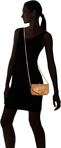 CTM Pochette a spalla da Donna, borsetta con tracolla, vera pelle made in Italy - 18x11x9 Cm Cuoio