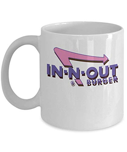 TEPEED Futuristic In-N-Out Coffee Mug Cup (White) 11oz In N Out Burger Gifts Merchandise Accessories Shirt Sticker Pin Decal Artwork Decor -