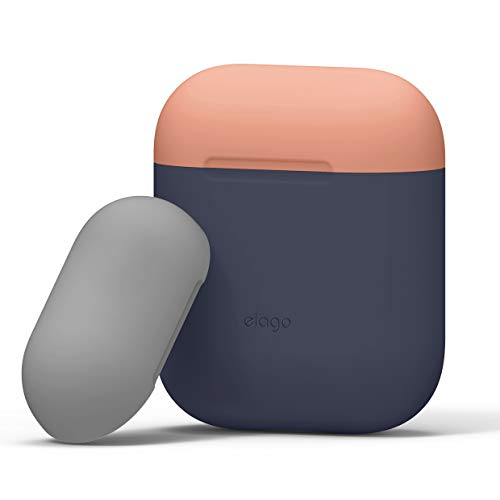 elago Custodia Doppia Compatibile con Apple AirPods 1 & 2 (LED anteriore Non Visibile) - [Con Due Cappucci Colorati Diversi] [Funziona la Ricarica Wireless] - (Body-Jean Indigo/Top-Pesca, Grigio)