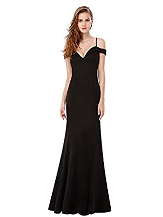 6fa4e037f70 Ever Pretty Women s Sexy V Neck Off The Shoulder Floor Length Party Dresses  Black 8UK