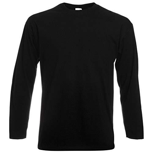 Fruit of the Loom langarmiges Shirt, Schwarz, Gr.M -