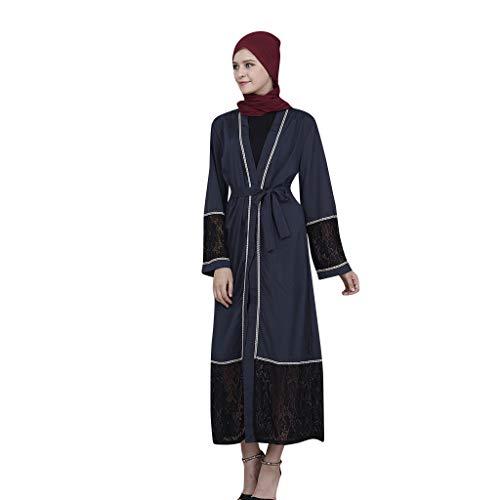 Muslimischen Kostüm - Madmoon Damenkleider Muslimische Kostüme Damen Kimono Langarm Einfarbig Strickjacke Spitzennaht Maxi Lose Tunika Jacke mit Gürtel Islamische Tunika Robe Abaya Kleid