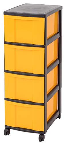 Unbekannt IRIS Schubladenbox mit Rollen, Kunststoff, gelb/schwarz (4 große) - Schubladenschrank...