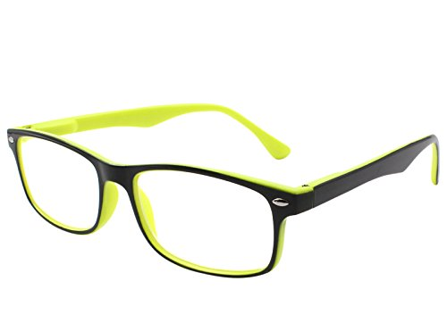 Tboc occhiali da vista lettura presbiopia - graduati +1.50 diottrie montatura bicolore gialla e nera fashion leggeri quadrati da vicino per computer donna e uomo unisex aste con cerniere con molla