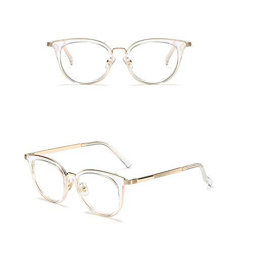 Easy Go Shopping Klassische quadratische Brillen ohne Rezept, Brillenglas, Metallrahmen. Sonnenbrillen und Flacher Spiegel (Farbe : White/Clear)