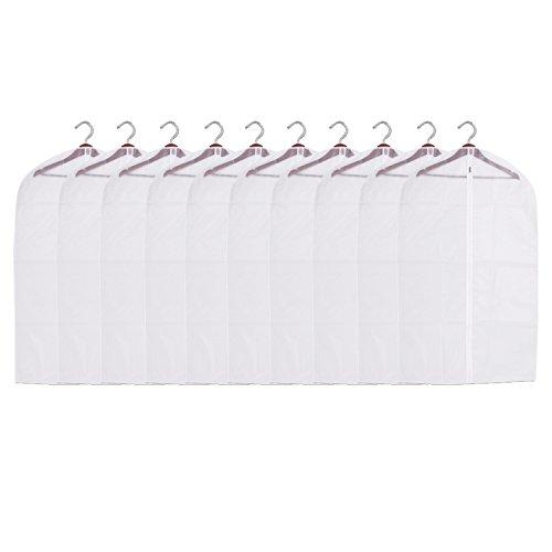 WLot 10 Stücke Kleidersack Taschen Anzugsack PEVA Transparent Wasserdicht Staubdicht Antibakteriell Kleidersäcke mit Weiß Reißverschluss Kleiderhülle für Reisen und Lagerung (60 x 100cm)