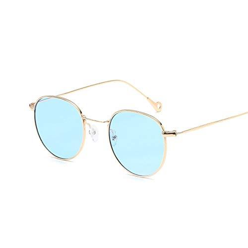 Sonnenbrille Neue Runde Sonnenbrille Frauen Designer Farbe Objektiv Metallrahmen Vintage Gold Blau Spiegel Sonnenbrille Frauen Unisex Retro Gradient Oculos