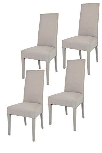 Tommychairs - 4er Set Moderne Stühle Chiara für Küche und Esszimmer, Struktur aus lackiertem Buchenholz Farbe Gämse, Gepolstert und mit Stoff in der Farbe Gämse bezogen (Esszimmer Stuhl, Moderne)