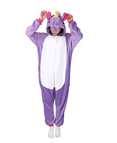 Warmes Unisex-Karnevals-Kostüm für Kinder, Einhorn Eule Zebra Giraffe Kuh, für Halloween Fest Party, als Pyjama, Tier-Kigurumi-Kostüm für Zoo-Cosplay, Einteiler - Large - Pony Unicorn Viola - Hot-viola