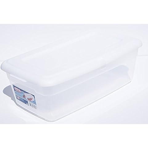 One Sterilite 6-quart Almacenamiento de Bin–Caja de zapatos transparente y blanco