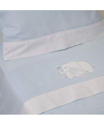 10XDIEZ Juego DE SÁBANAS Cuna Franela Elefante Azul