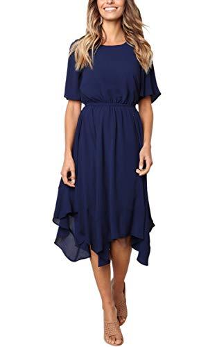 n Kleider Asymmetrisch Sommerkleid Einfarbig Rundhals Kurzarm Plissee Kleid Casual Lose Kleid Knielang Blau XL ()