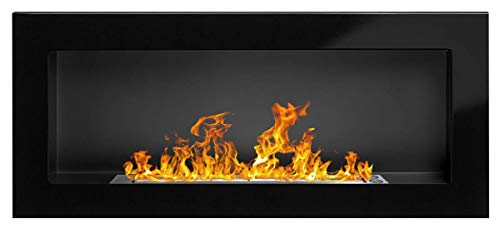 Bio Ethanol Fireplace Modern 900 x 400 High gloss black