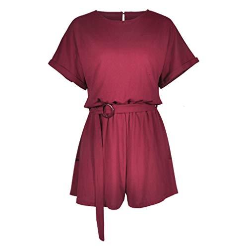 MORETIME Femme La Mode Combinaison Nouveau Produit été 2019 Pas Cher Combinaison Pantalon Femme été Combinaison Femme décontractée à Manches Courtes et col Rond Top lâch