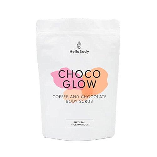 HelloBody Choco Glow Body Scrub – gommage corps (200g) – soin du corps pour une peau saine, ferme & hydratée – café, cacao, huile d'avocat & d'amand