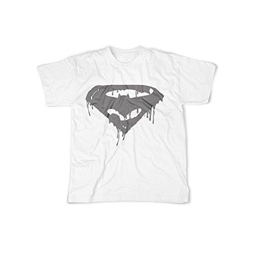 licaso Männer T-Shirt mit Aufdruck in Weiß Gr. L Superhelden Logo Design Boy Top Jungen Shirt Herren Basic 100% Baumwolle Kurzarm