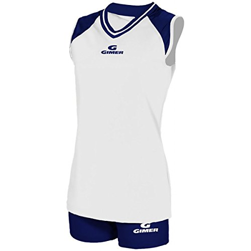 GIMER 2/420 KIT VOLLEYBALL WOMAN WITH SHORT STRETCH WHITE-NAVY XL