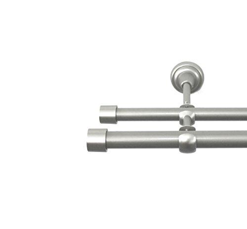 Rollmayer Chrom Matt Vorhangstange/Gardinenstange aus Metall Ø 19mm (240cm Crux, im Silber, 2-läufig) einfache Montage Verschiedene Größen und Endstücken Ohne Ringe! Schiebevorhänge