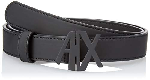 ARMANI EXCHANGE Eco Leather Belt With Logo Latch Cintura Donna, (Nero 00020), 5 (Taglia Produttore: Large)