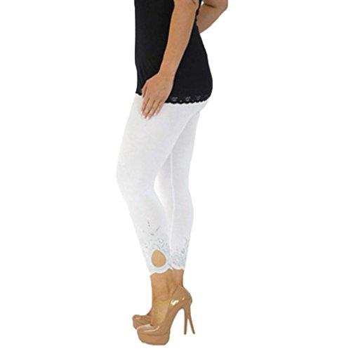 Oyedens voller Länge Baumwolle Leggins alle Farben alle Größen aktiv hose Sport Hosen Yoga Hosen (5XL, Weiß)