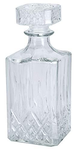 LS Design Whisky Glas-Karaffe Decanter 900ml Flasche Rechteck Cognac Sherry Likör Gin 23x9x9cm