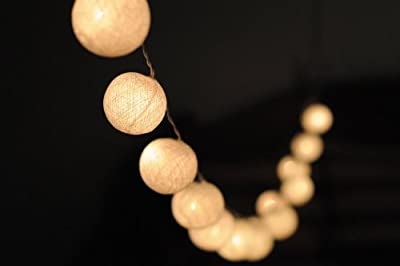 Weiße Kugel Stoff Ball Lichterkette Deko Lichterkette- 20 Kugeln inkl - Party, Patio, Deko, Hochzeit, Innen-,Garten von Nexium - Lampenhans.de