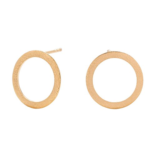 Pernille Corydon Damen Gold-Ohrringe Offene Münze (Open Coin) - Ohrstecker offene Ring oder Kreis - Echtschmuck 925er Sterling Silber 18 Karat vergoldet - E170g (Münze Stud)