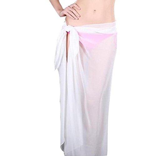 Damen Röcke, GJKK Damen Reizvoller Strandrock Vertuschen Chiffon Rock Bikini Bademode Vertuschen Wrap Rock Badeanzug Lange Rock (Weiß, F) (Vertuschen Elastische Taille)