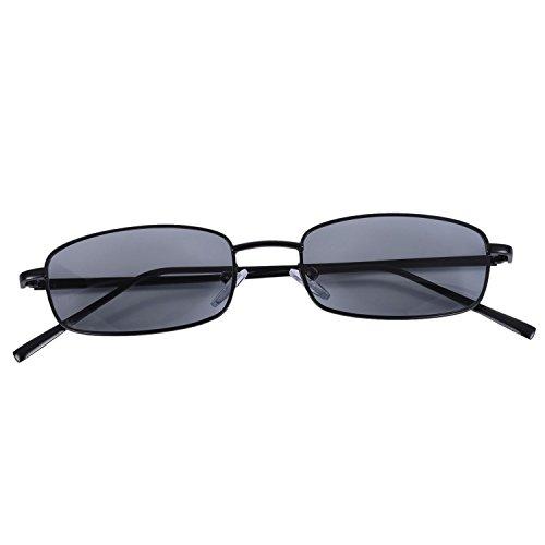 Nrpfell Vintage Sonnenbrille Damen Herren Rechteck Brille Kleine Retro Shades Sonnenbrille Frauen S8004 schwarzer Rahmen grau