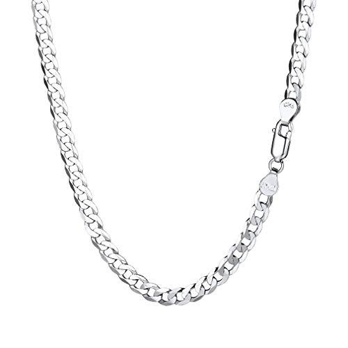 PROSILVER Chaîne Maille Gourmette Collier Homme Argent 925/1000 Link Chain Plaqué Or Blanc 2.8mm Bijoux Simple Tendance pour Garçon 71cm Cadeau Parfait