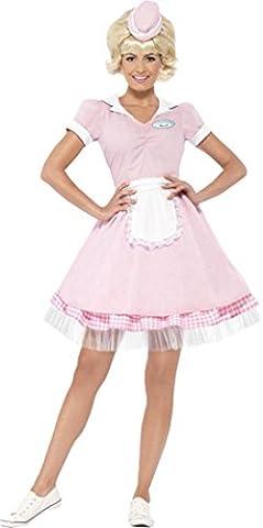 50's Diner Girl Kostüm Damen Kellnerin Fancy Kleid Party 50er Jahre Kellner Outfit Gr. UK Kleid 36, (Kellnerin Kostüm Kind)