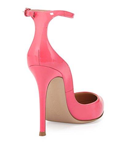 EDEFS - Escarpins Femme - Brillant Coupé Chaussure - Cheville Boucle - Talon Aiguille - Bout pointu fermé Fuschia