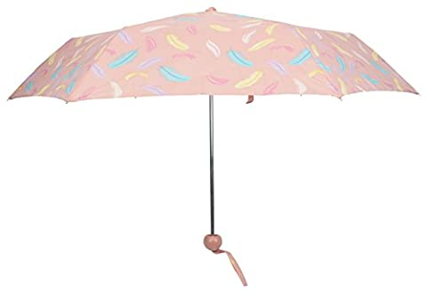Drizzles Ladies Supermini Ball Handle Manual Umbrella Pink Feather
