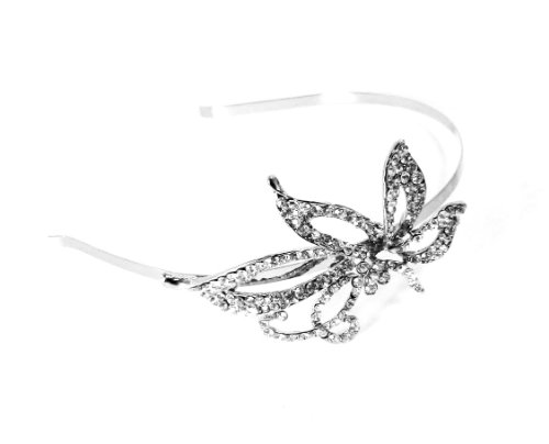 Narrow Silver Alice band Crystal Side Large Flower