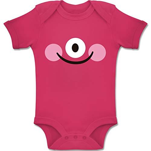 Shirtracer Karneval und Fasching Baby - Monster Kostüm Auge - 3-6 Monate - Fuchsia - BZ10 - Baby Body Kurzarm Jungen Mädchen