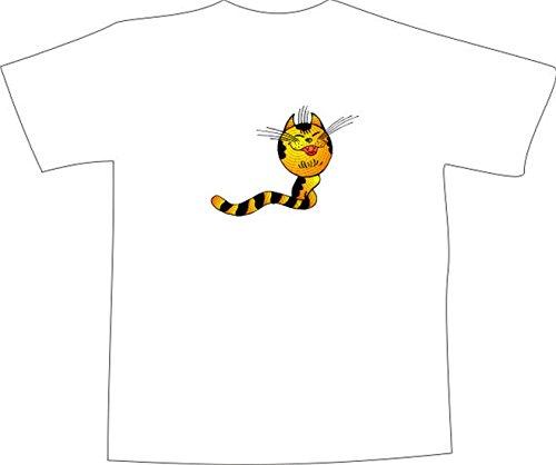 T-Shirt E865 Schönes T-Shirt mit farbigem Brustaufdruck - Logo / Grafik - Comic Design - lustige grinsende Tigerschlange Weiß