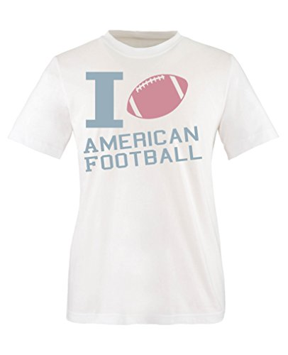 Comedy Shirts - I Love American Football - Mädchen T-Shirt - Weiss/Eisblau-Rosa Gr. 86/92